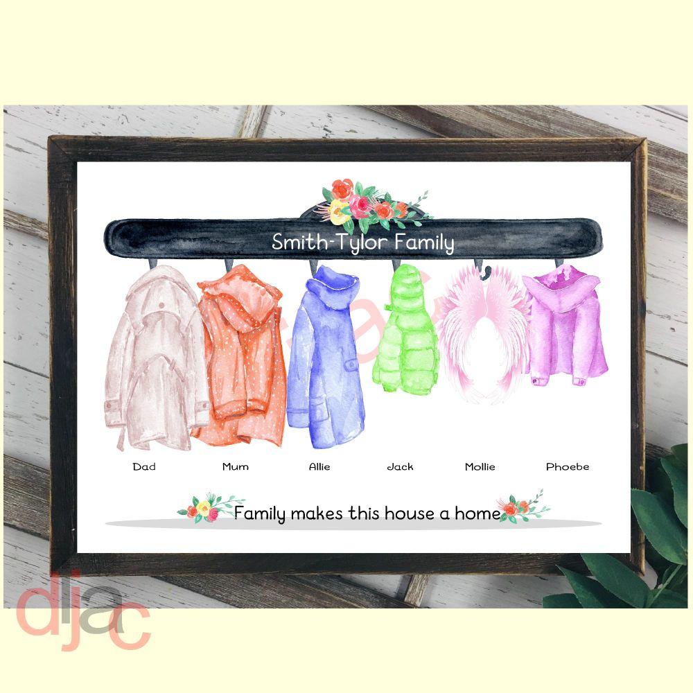 6 CHARACTER COAT (D2) FAMILY PRINT