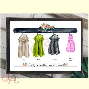 4 CHARACTER COAT (D2) FAMILY PRINT