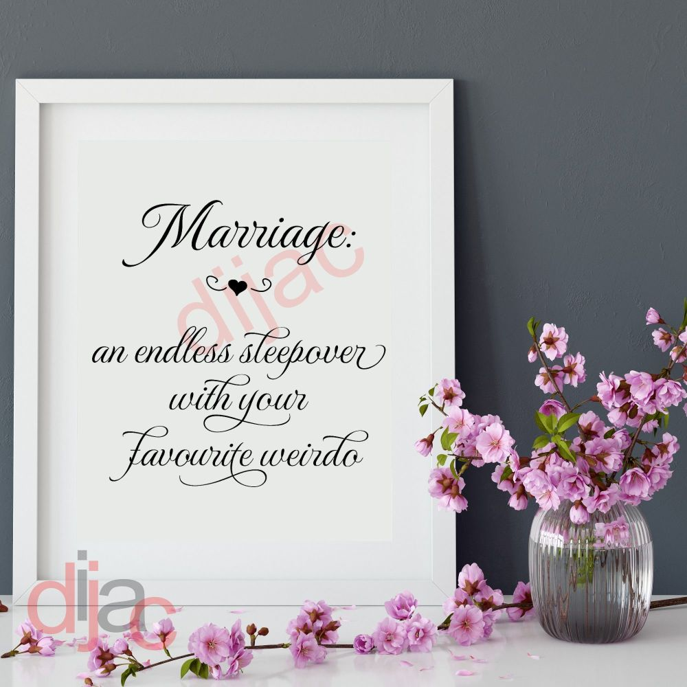 MARRIAGE - AN ENDLESS SLEEPOVER 15 x 15 cm