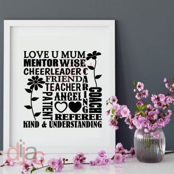 LOVE U MUM WORDART15 x 15 cm