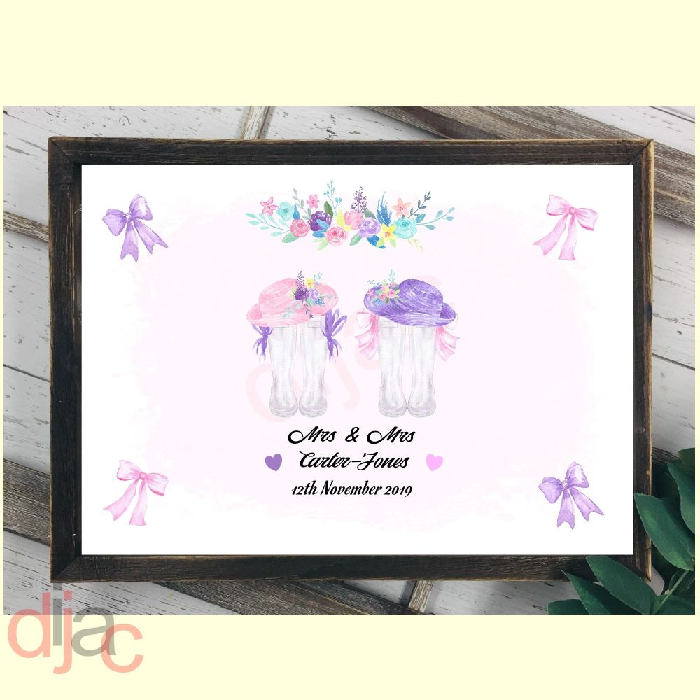 WEDDING WELLINGTONS MRS & MRS (D2)DIGITAL PRINT