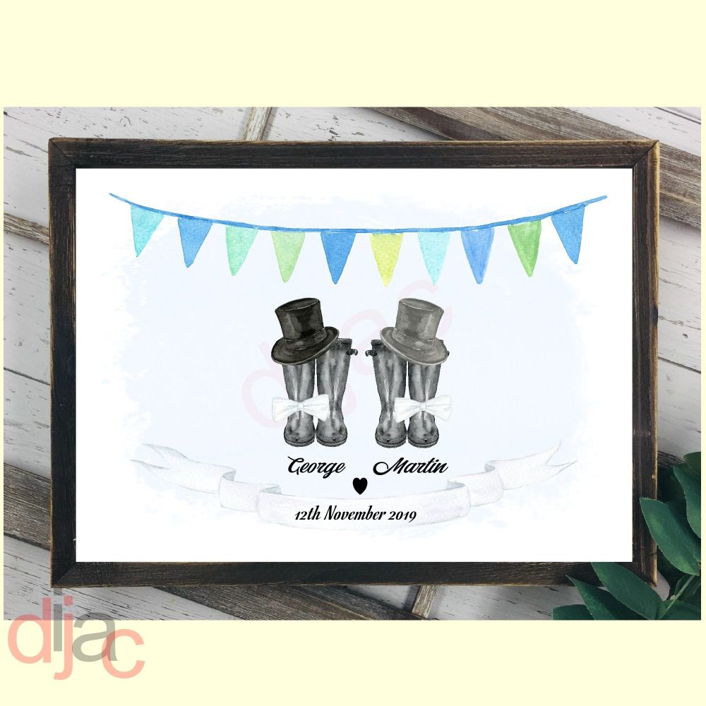 WEDDING WELLINGTONS MR & MR (D1) DIGITAL PRINT