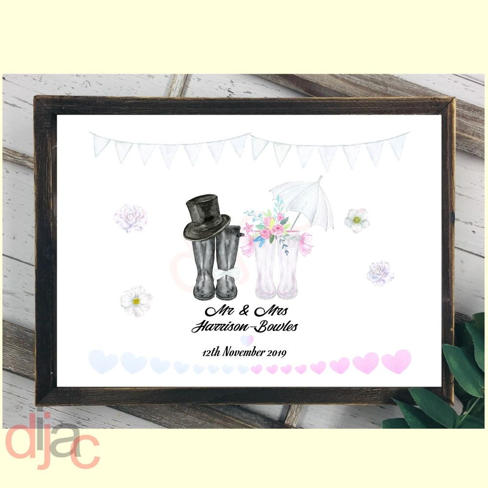 WEDDING WELLINGTONS MR & MRS (D2)DIGITAL PRINT