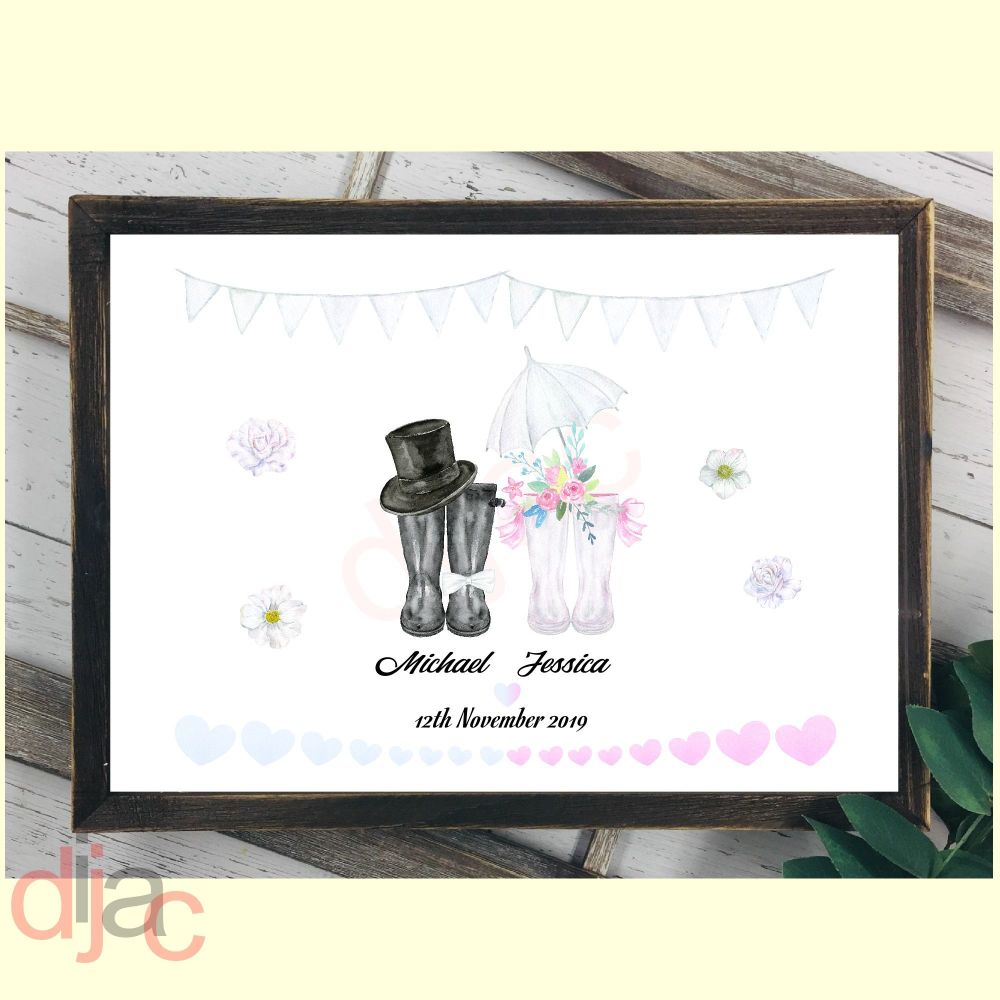 WEDDING WELLINGTONS MR & MRS (D1)DIGITAL PRINT