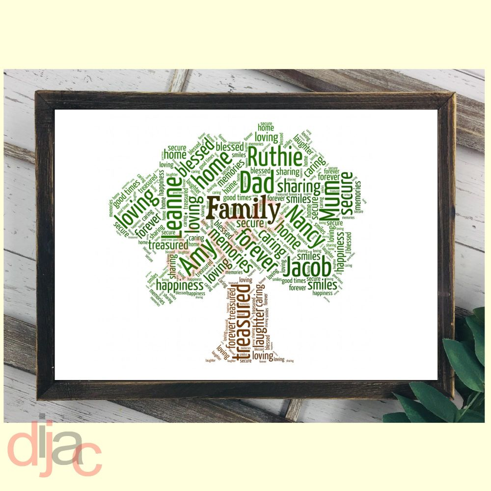 FAMILY TREE WORD ARTDIGITAL PRINT