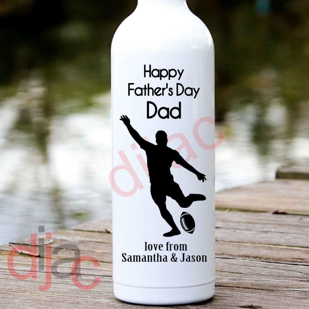 HAPPY FATHER'S DAY RUGBY<br>PERSONALISED<br>8 x 17.5 cm