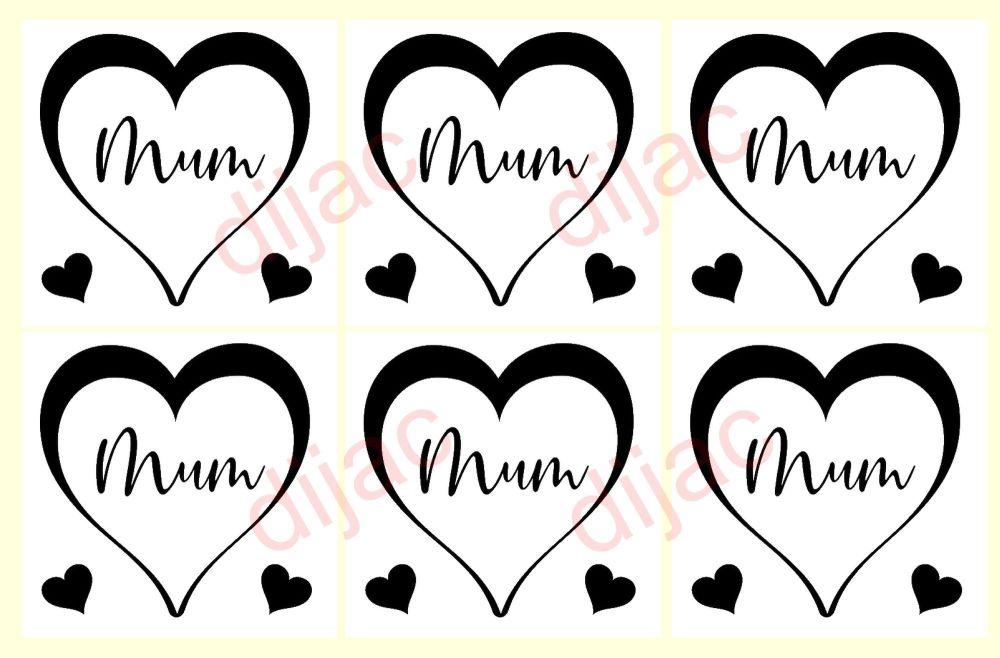 MUM HEART X 6<br>7.5 x 7.5 cm