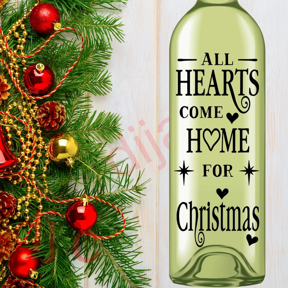 <!-- 002 -->Christmas Wine Bottle Decals
