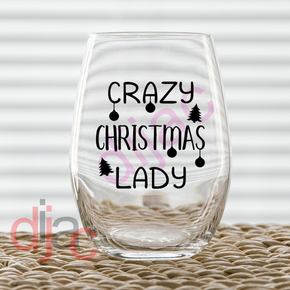 CRAZY CHRISTMAS LADY<br>7.5 x 7.5 cm decal