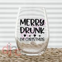MERRY DRUNK I'M CHRISTMAS<br>7.5 x 7.5 cm decal