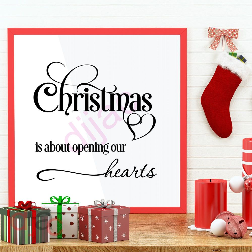 CHRISTMAS IS ABOUT OPENING OUR HEARTS<br>15 x 15 cm