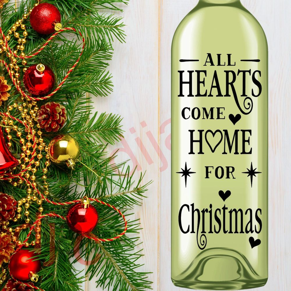 ALL HEARTS COME HOME FOR CHRISTMAS<br>8 x 17.5 cm decal