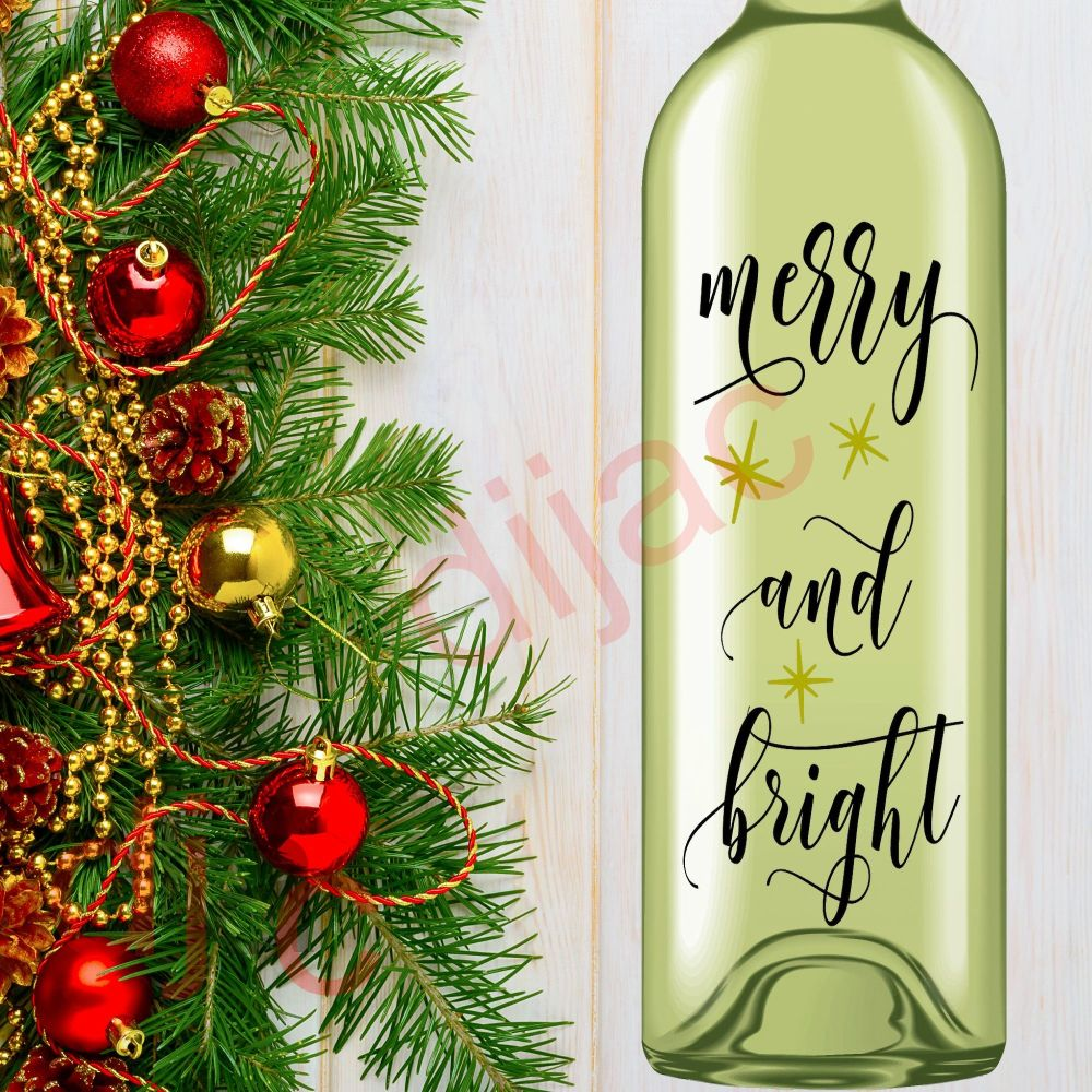 MERRY AND BRIGHT (D1)<br>8 x 17.5 cm decal