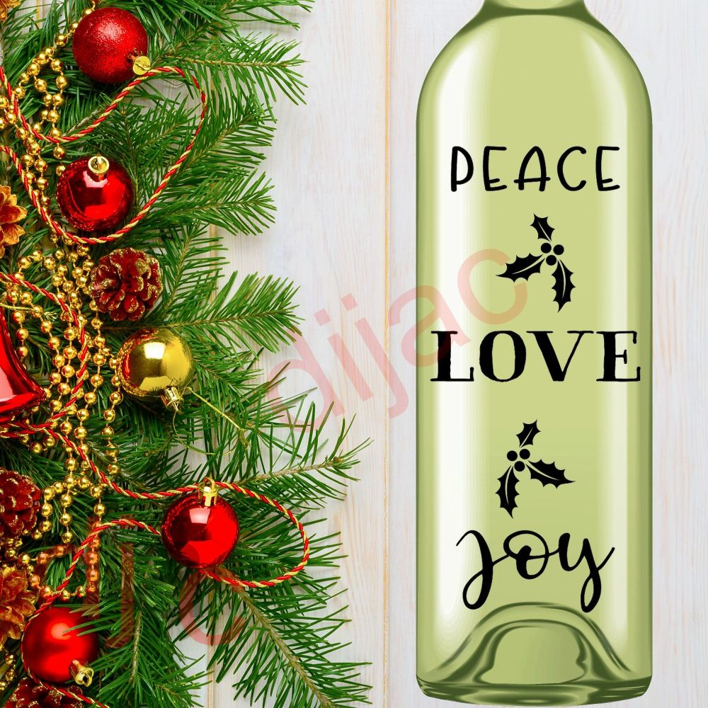 PEACE LOVE JOY (D1)<br>8 x 17.5 cm decal