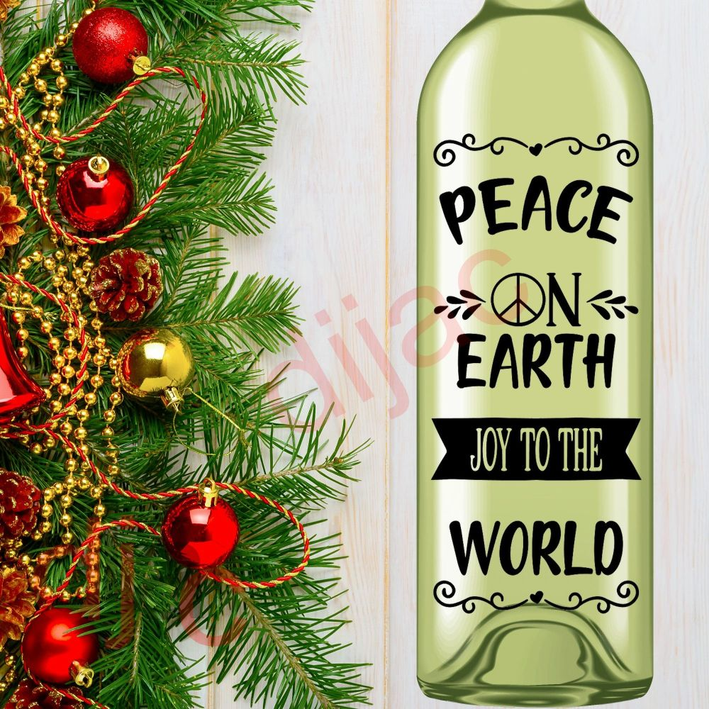 PEACE ON EARTH JOY TO THE WORLD<br>8 x 17.5 cm decal