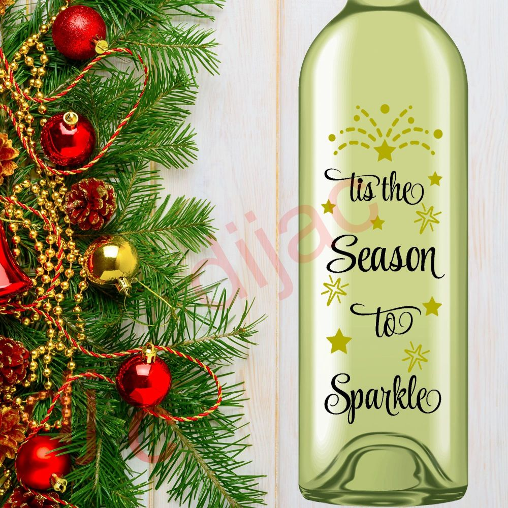 TIS THE SEASON TO SPARKLE<br>8 x 17.5 cm decal