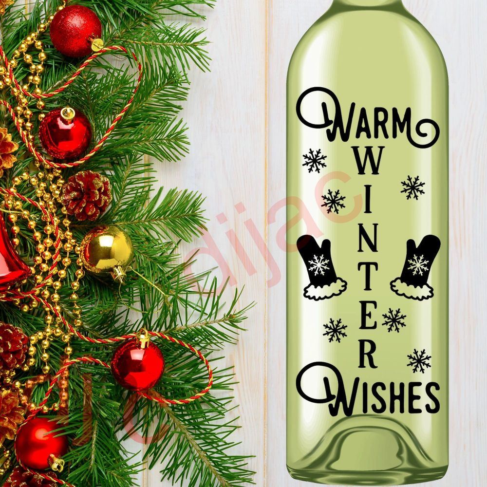 WARM WINTER WISHES<br>8 x 17.5 cm decal