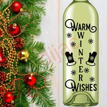 WARM WINTER WISHES8 x 17.5 cm decal