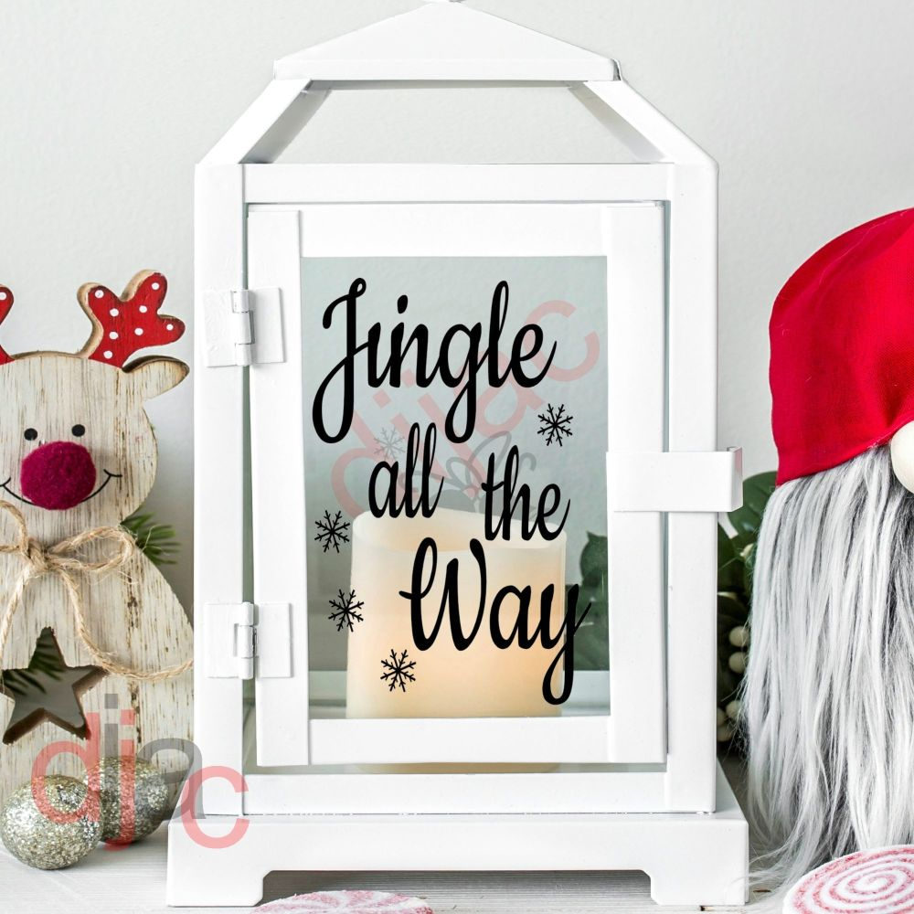 JINGLE ALL THE WAY<br>2 part decal<br>9 x 13 cm