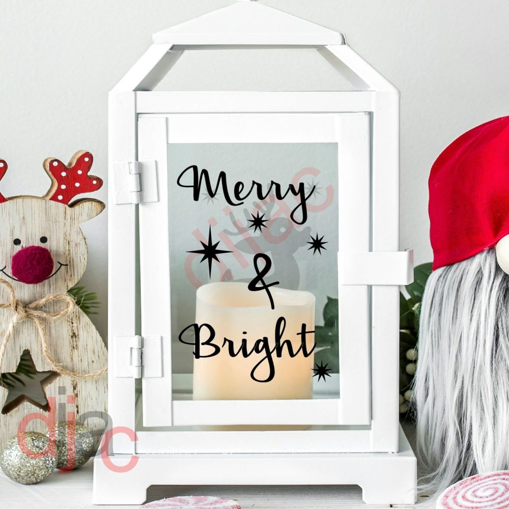 MERRY & BRIGHT<br>2 part decal<br>9 x 13 cm