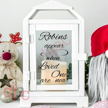 ROBINS APPEAR WHEN LOVED ONES ARE NEAR2 part decal9 x 13 cm