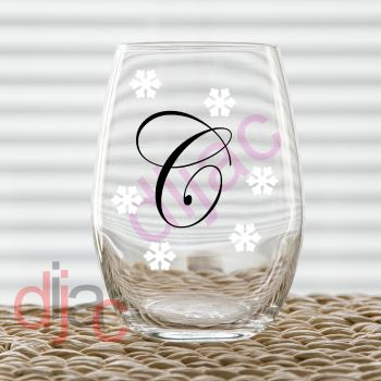 PERSONALISED INITIAL WITH SNOWFLAKES2 part decal5 cm decal