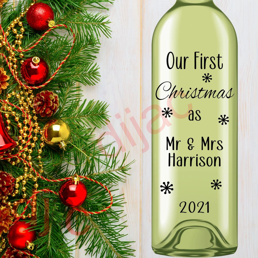 CHRISTMAS BOTTLE DECALS PERSONALISED