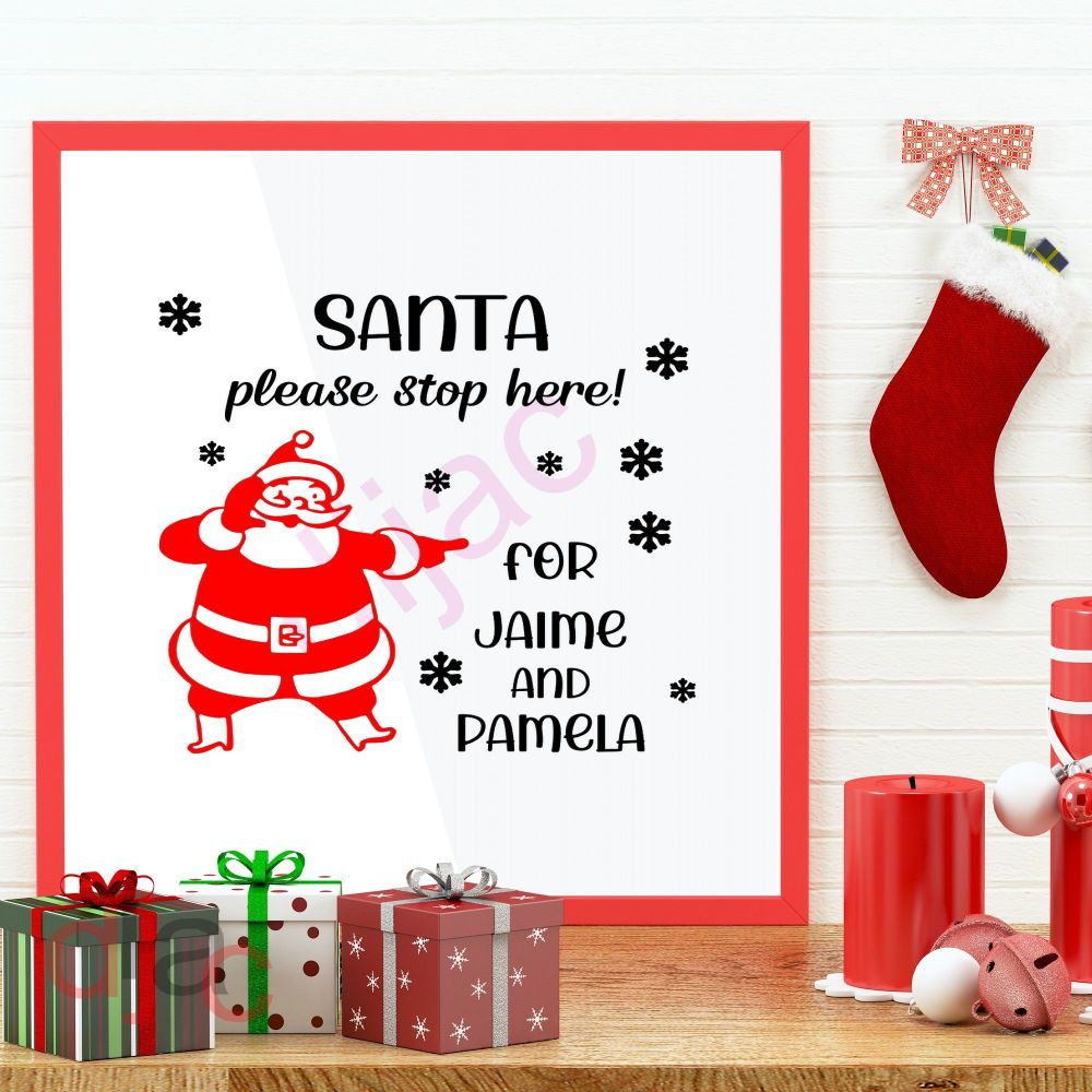 SANTA PLEASE STOP HERE (D1)<br>Personalised decal<br>15 x 15 cm