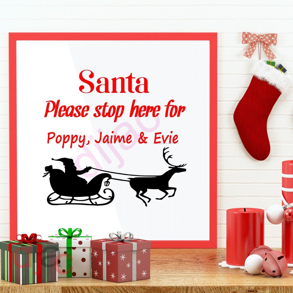 SANTA PLEASE STOP HERE (D2)<br>Personalised decal<br>15 x 15 cm