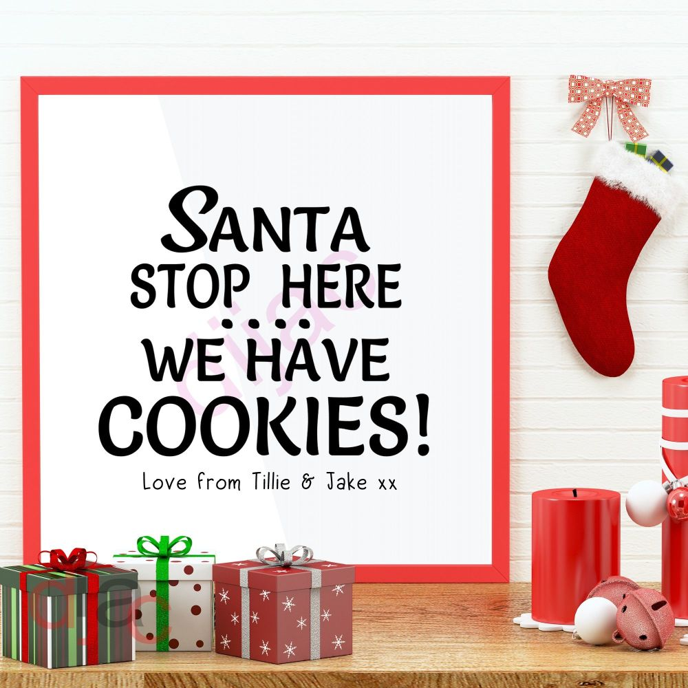 SANTA STOP HERE FOR COOKIES(D2)Personalised decal15 x 15 cm