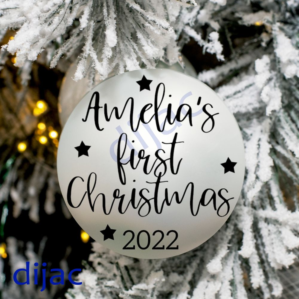 CHRISTMAS BAUBLE DECALS PERSONALISED