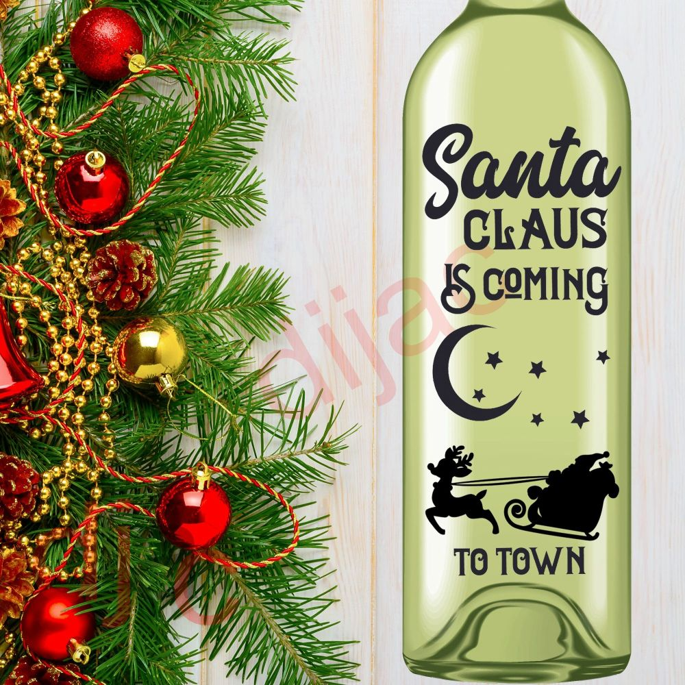 SANTA CLAUS IS COMING TO TOWN (D1)<br>8 x 17.5 cm decal