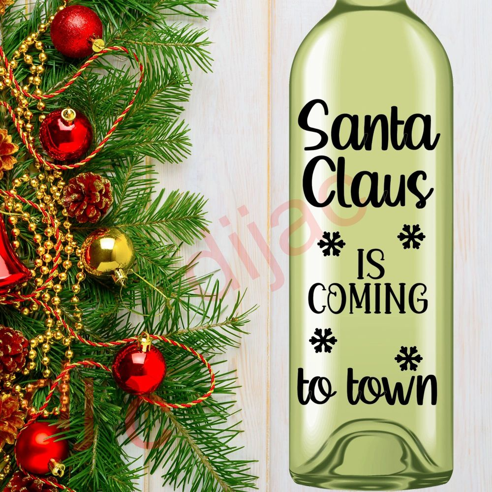 SANTA CLAUS IS COMING TO TOWN (D2)<br>8 x 17.5 cm decal