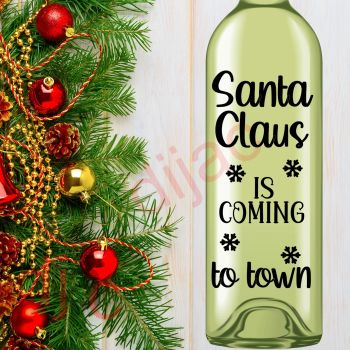 SANTA CLAUS IS COMING TO TOWN (D2)8 x 17.5 cm decal