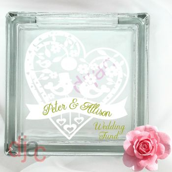 WEDDING PLANNING FUND (D3)GLASS MONEY BOX