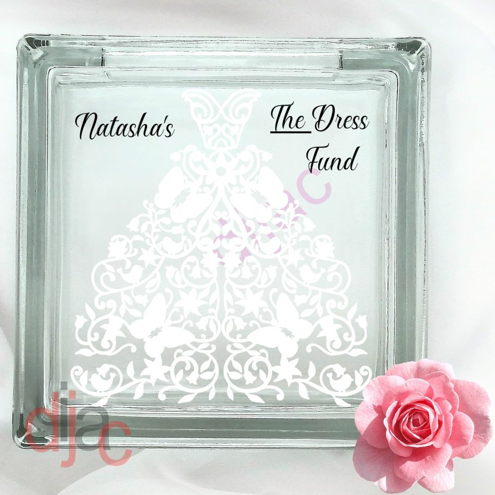 WEDDING DRESS FUNDGLASS MONEY BOX