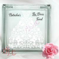WEDDING DRESS FUND<br>GLASS MONEY BOX