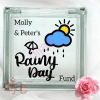 RAINY DAY FUND<br>GLASS MONEY BOX
