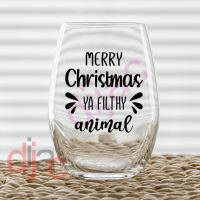MERRY CHRISTMAS YA FILTHY ANIMAL (d1)<br>7.5 x 7.5 cm decal