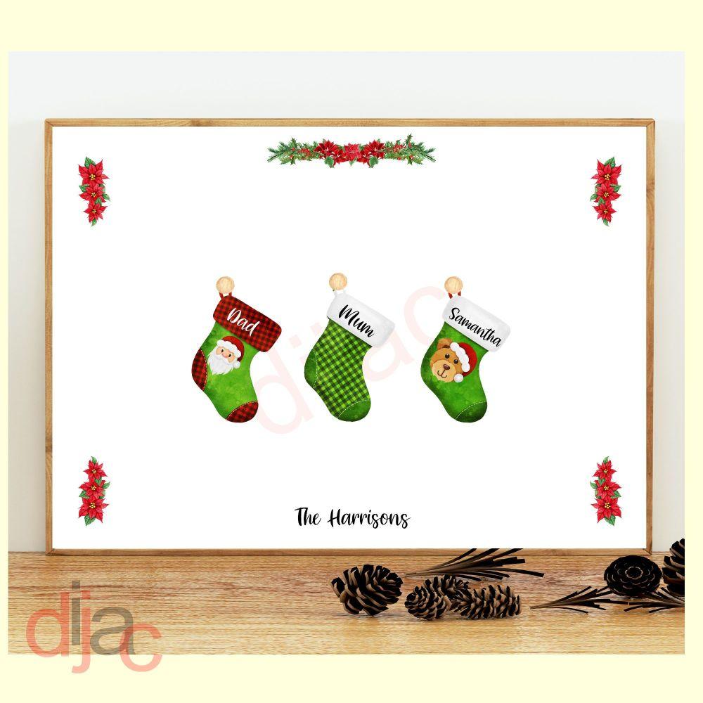 3 CHARACTER CHRISTMAS STOCKING (D2) FAMILY PRINT