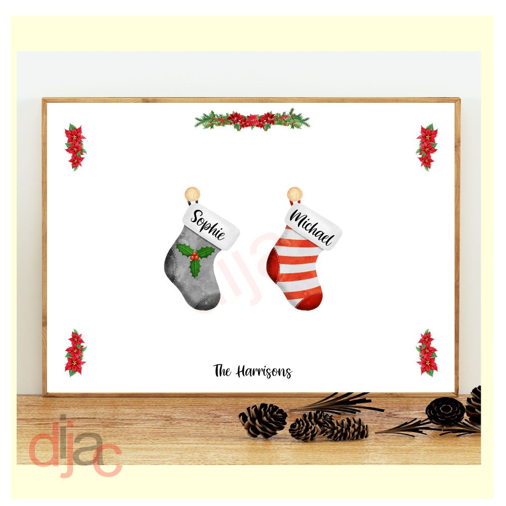 2 CHARACTER CHRISTMAS STOCKING (D2) FAMILY PRINT