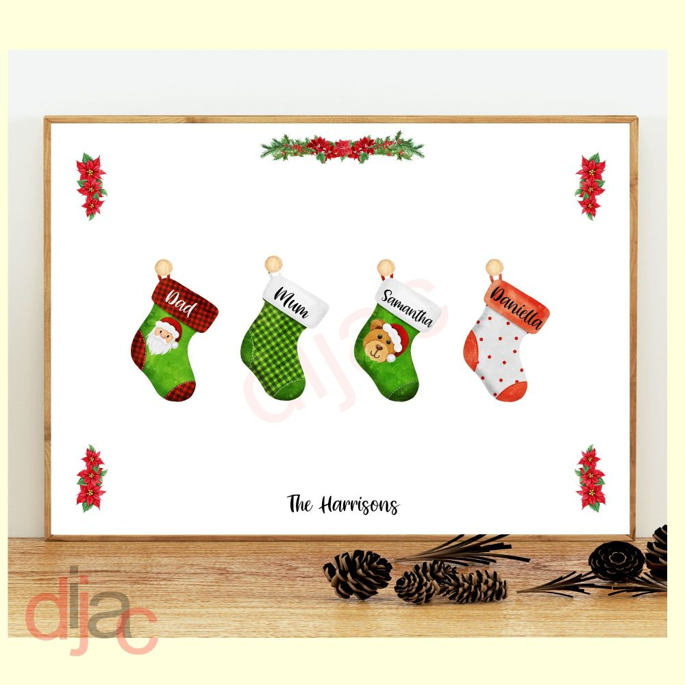 4 CHARACTER CHRISTMAS STOCKING (D2) FAMILY PRINT