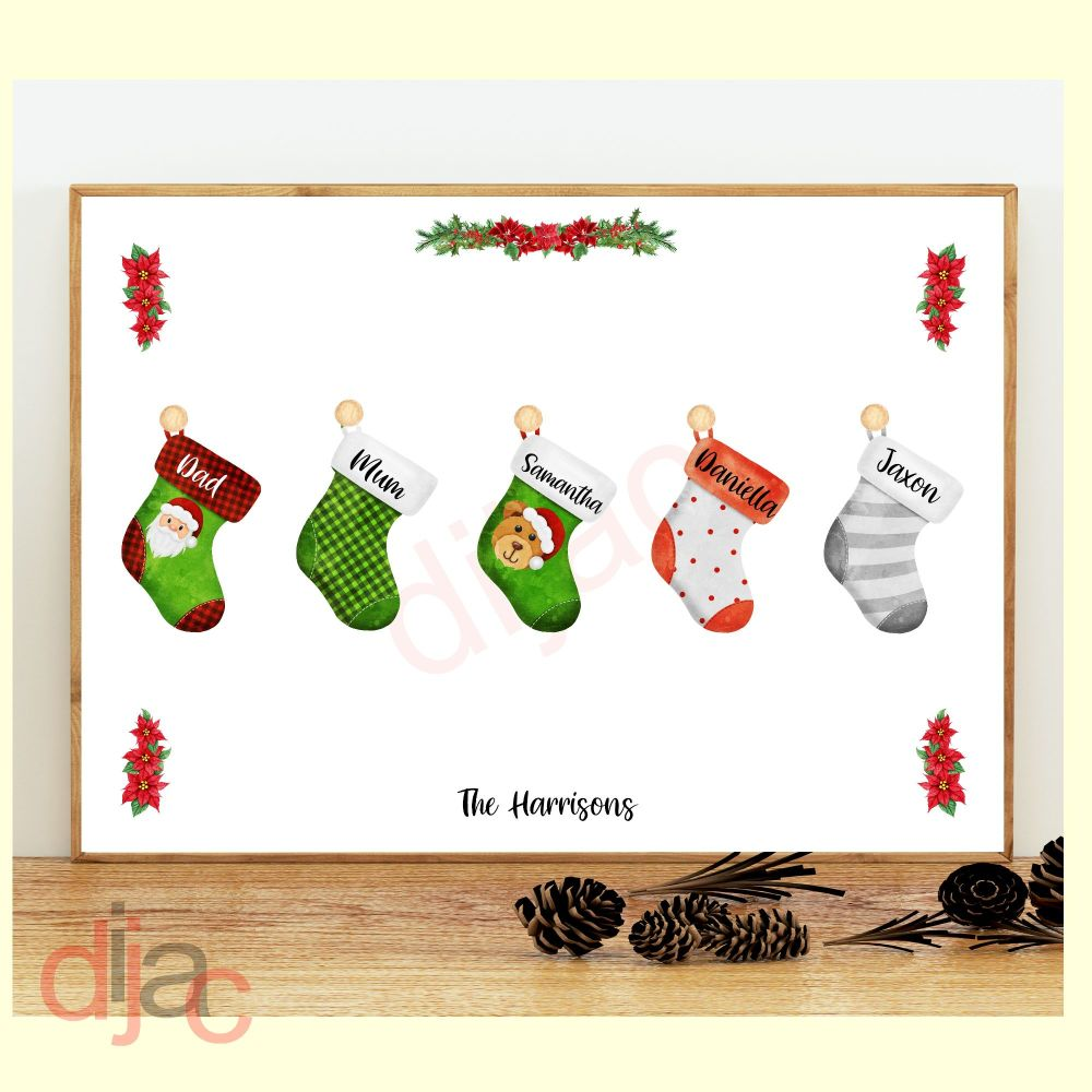 5 CHARACTER CHRISTMAS STOCKING (D2) FAMILY PRINT