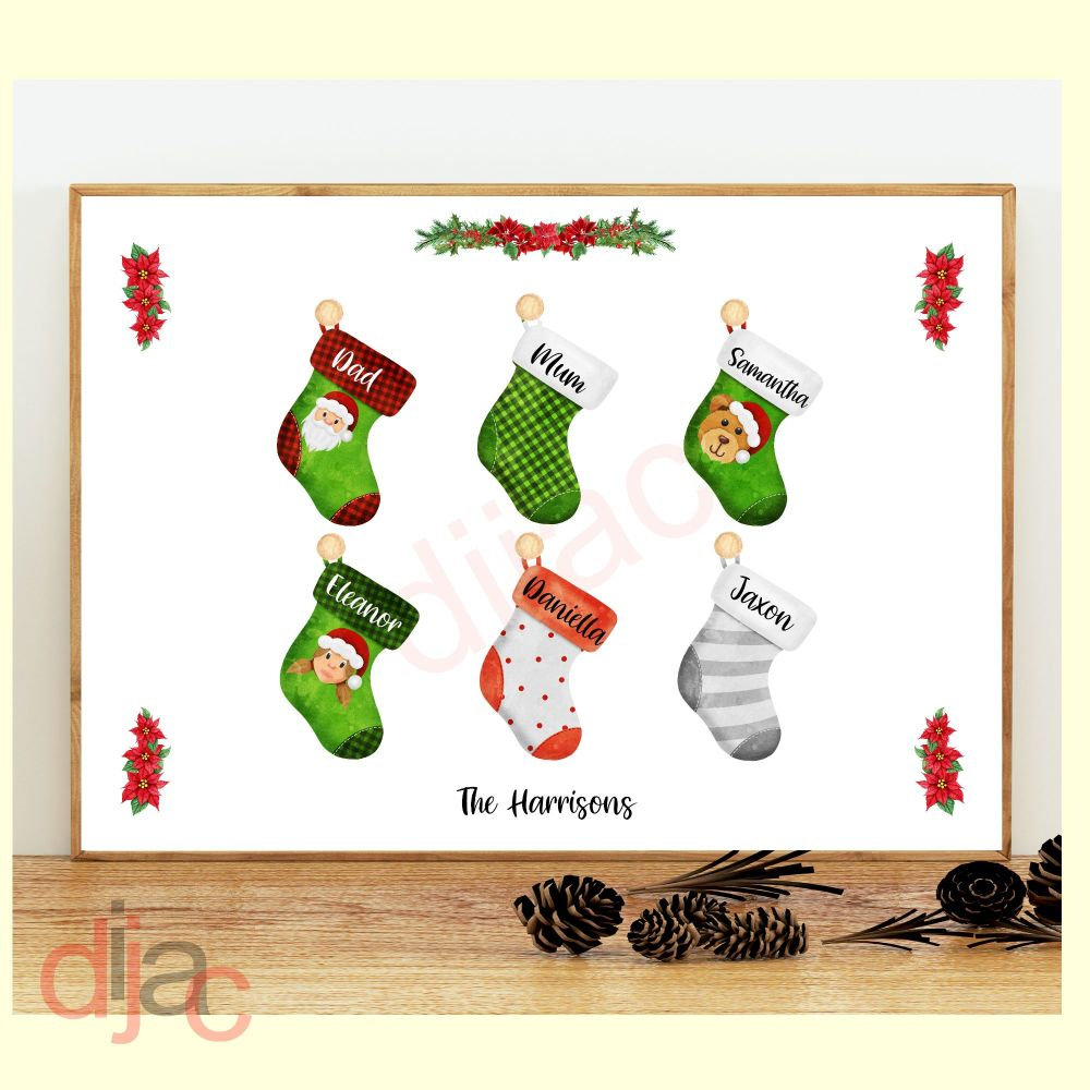 6 CHARACTER CHRISTMAS STOCKING (D2) FAMILY PRINT