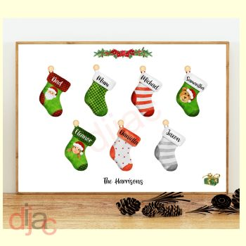 7 CHARACTER CHRISTMAS STOCKING (D2) FAMILY PRINT
