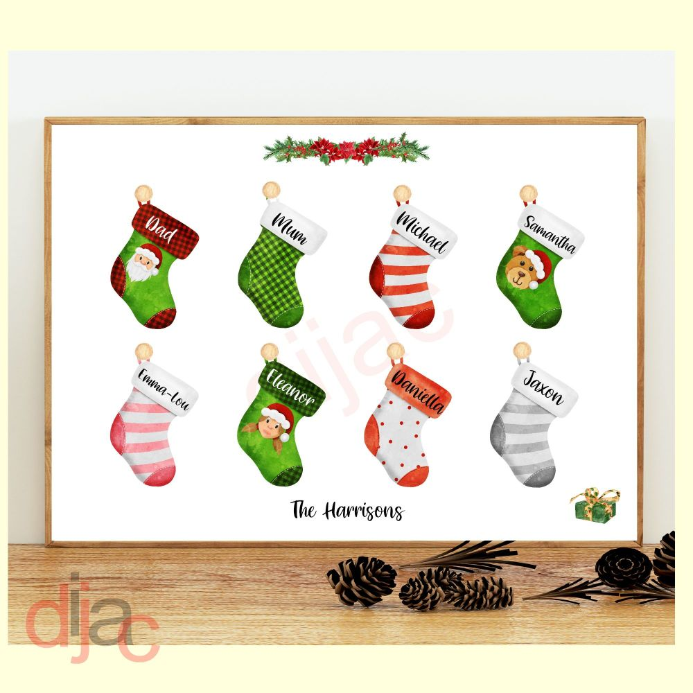 8 CHARACTER CHRISTMAS STOCKING (D2) FAMILY PRINT