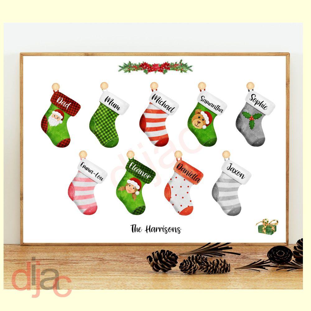 9 CHARACTER CHRISTMAS STOCKING (D2) FAMILY PRINT