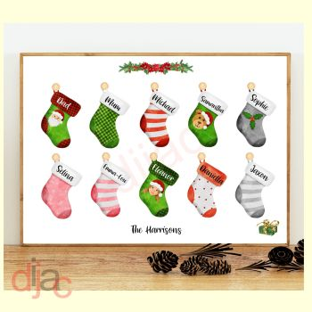 10 CHARACTER CHRISTMAS STOCKING (D2) FAMILY PRINT