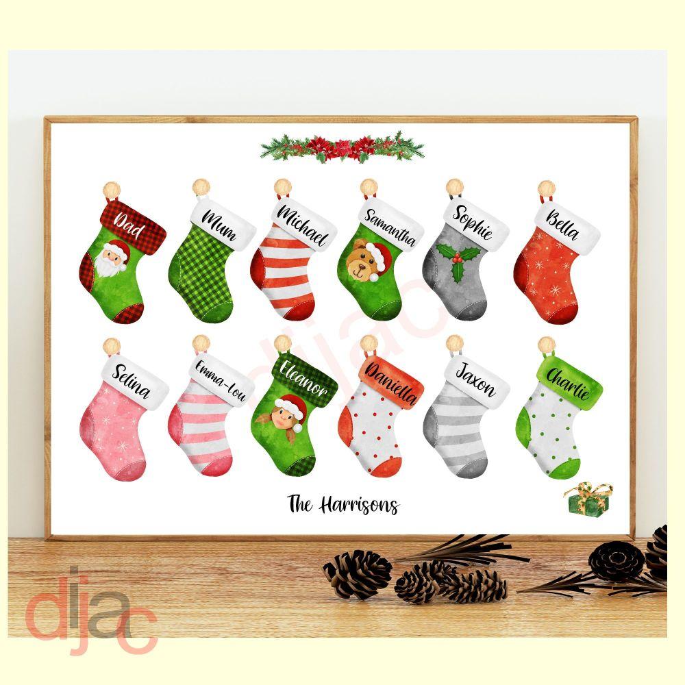 <!-- 011 -->12 CHARACTER CHRISTMAS STOCKING (D2) FAMILY PRINT