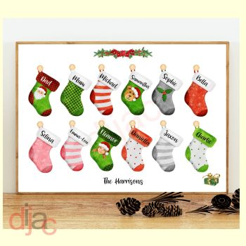 12 CHARACTER CHRISTMAS STOCKING (D2) FAMILY PRINT